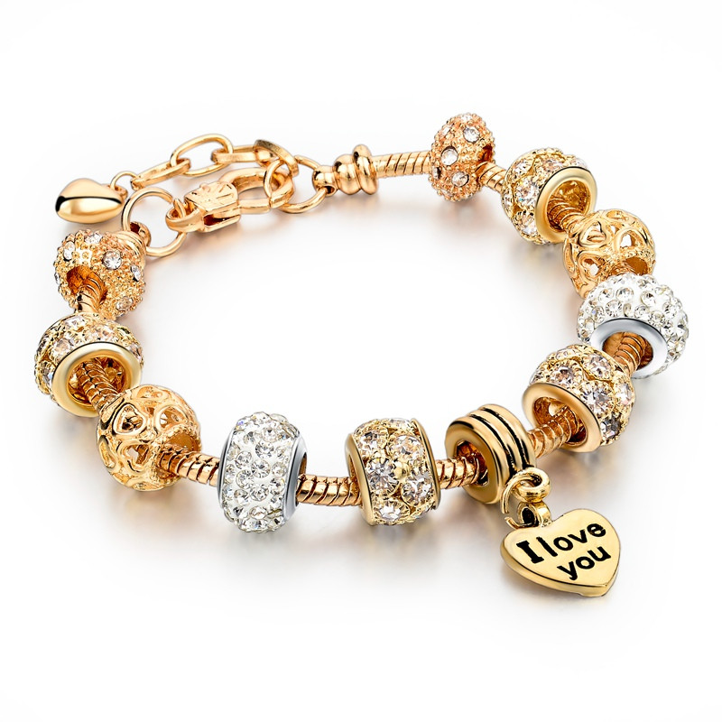 Bratara Charm Gold Crystal Heart