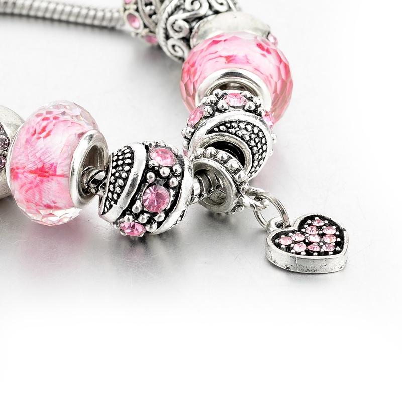 Bratara Charm Silver Pink Hearth