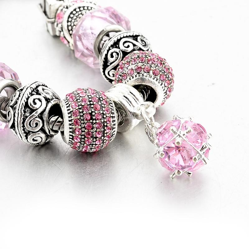Bratara Charm Silver Pink