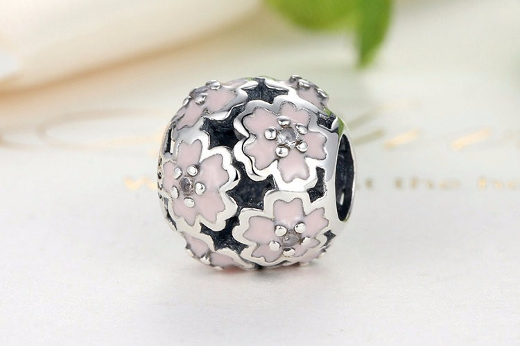 Charm din argint 925 - Floare roz