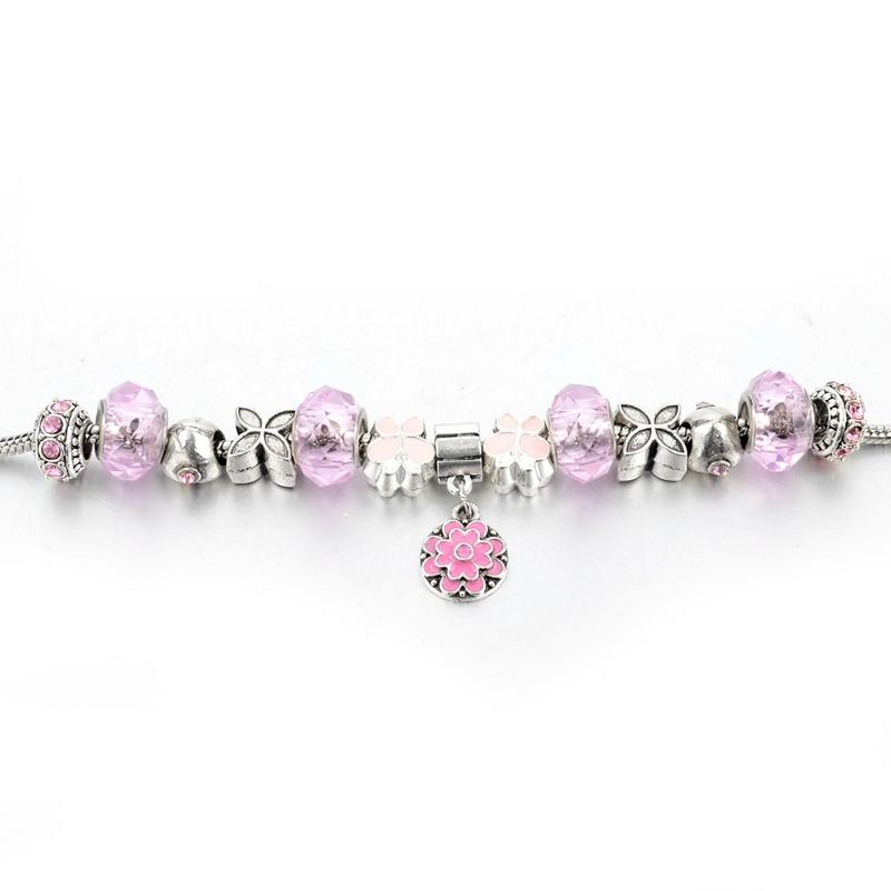 Bratara Charm Silver Pink Flower