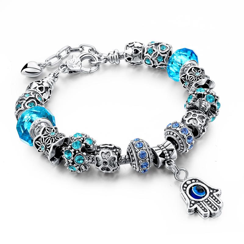 Bratara Silver Charm Hamsa Blue