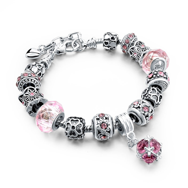 Bratara Charm Silver I Love You Pink
