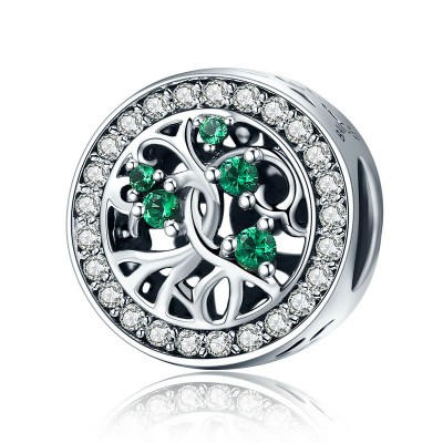 Charm din argint 925 - Tree Of Life Green